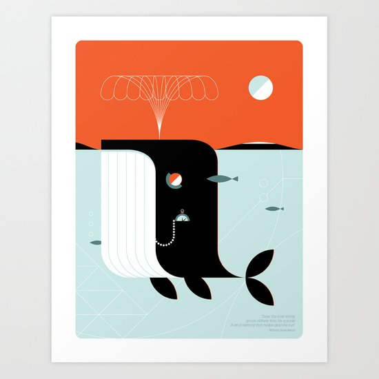 Time the dark whale Art Print