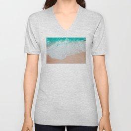 Crashing Waves Photo | Nature Photography | Tropical Sea And Sand Unisex V-Neck