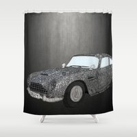 james bond Shower Curtains featuring James Bond Aston Martin DB5 by Dany Delarbre