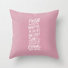 John 3: 16 x Rose Throw Pillow
