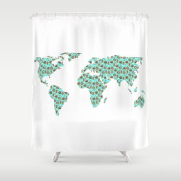 World Map Chocolate Planet Shower Curtain