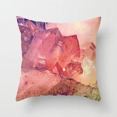 Quartz Mineral Gem Cluster Throw Pillow