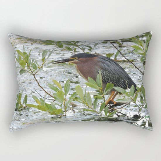 Green Heron at Lakeside Rectangular Pillow