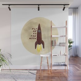 Fly me to the moon, little red rocket ! Wall Mural