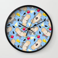 mouse Wall Clocks featuring mouse by Tanya Pligina
