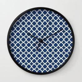 Lattice Navy on White Wall Clock