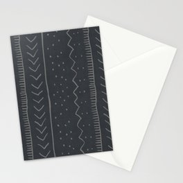 Moroccan Stripe in Charcoal Stationery Cards