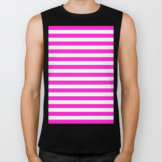Horizontal Stripes (Hot Magenta/White) Biker Tank