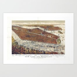 Aerial View of New York and Brooklyn, with Jersey City and Hoboken water front (1877) Art Print