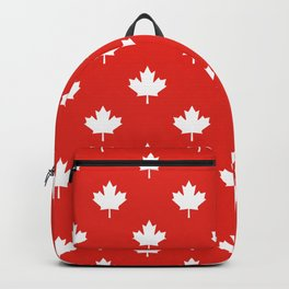 Large Reversed White Canadian Maple Leaf on Red Backpack