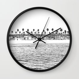 Vintage Newport Beach Print {4 of 4} | Photography Ocean Palm Trees B&W Tropical Summer Sky Wall Clock