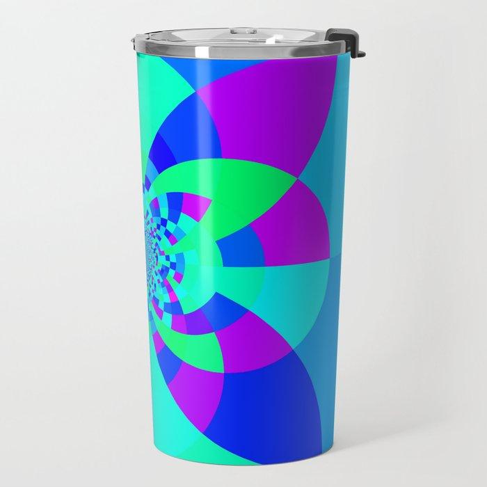 Orchid Aqua Turquoise Kaleidoscope Travel Mug