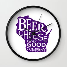 Purple and White Beer, Cheese and Good Company Wisconsin Graphic Wall Clock