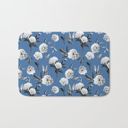 Peonies in Her Dreams Mono Blue Bath Mat