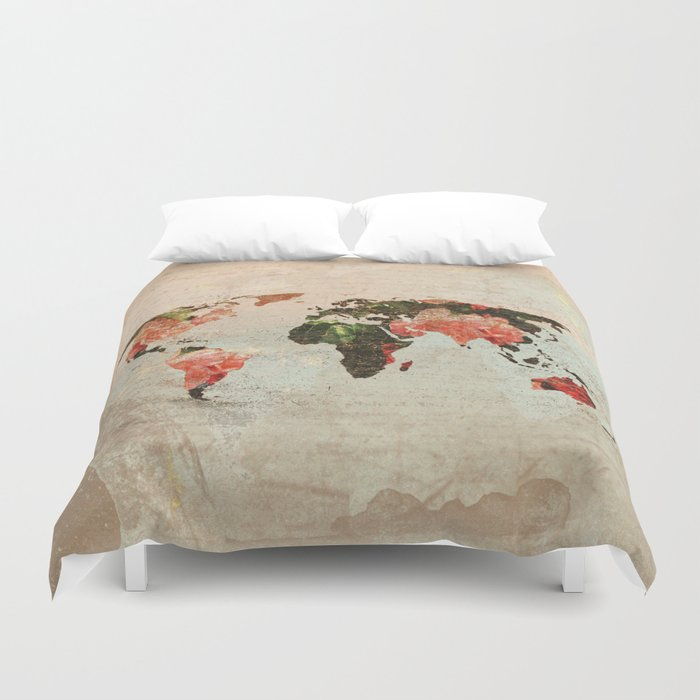 Vintage world map duvet cover by mjbphotodesign society6 vintage world map duvet cover gumiabroncs Image collections