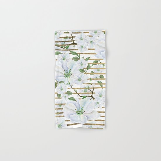 Elegant Bathroom Hand Towels: Elegant White Faux Gold Stripes Watercolor Hand Painted