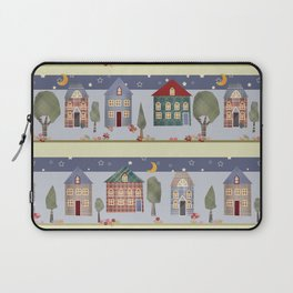 Kids patchwork seamless pattern with houses and trees Laptop Sleeve