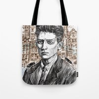 kafka Tote Bags featuring Kafka by Nina Palumbo Illustration