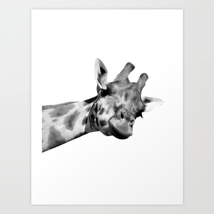 Black And White Giraffe Art Print By Alemi Society6