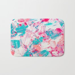 Modern bright candy pink turquoise pastel brushstrokes acrylic paint Bath Mat