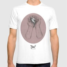 Hes got the whole bird in his hands Mens Fitted Tee White MEDIUM