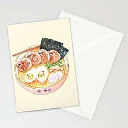 Ramen Pugs Watercolor Stationery Cards