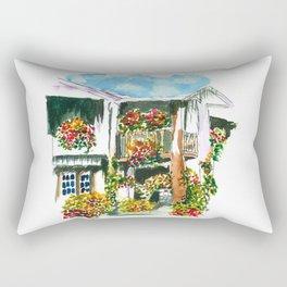 Flowers on the Balcony Rectangular Pillow