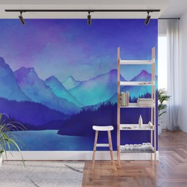 Cerulean Blue Mountains Wall Mural