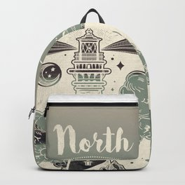 Lighthouse Compass Forest Ocean Backpack