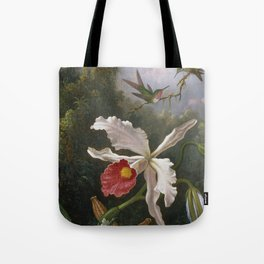 Martin Johnson Heade - Two hummingbirds above a white orchid Tote Bag