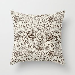 Floral seamless pattern in Gzhel style Throw Pillow