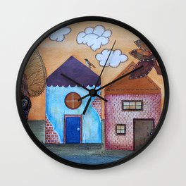 Little houses in Autumn Wall Clock