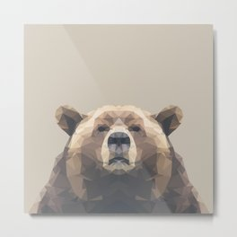 Low Poly Bear Metal Print