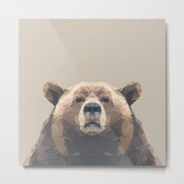 Low Poly Bear Metal Print