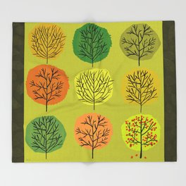 Tidy Trees All In Pretty Rows Throw Blanket