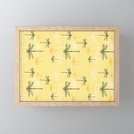 Dragonfly minimal Soft light Yellow & Ultimate Gray_drawing Framed Mini Art Print