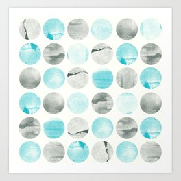 Graphic circles with texture Art Print