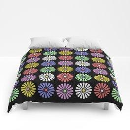 Pastel Flowers Pattern (On Black) Comforters