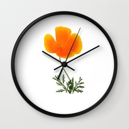 orange poppy Wall Clock