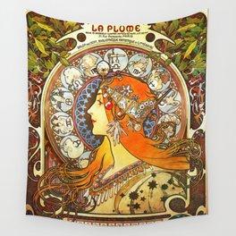 Alphonse Mucha La Plume Zodiac Wall Tapestry
