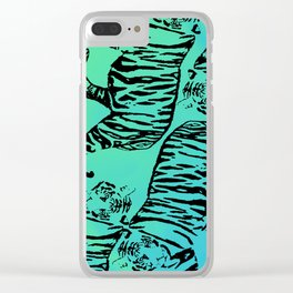 Tigers on ombre - Turquoise, Green, Tiger Stripes Clear iPhone Case