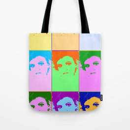 Poster with girl in popart style Tote Bag