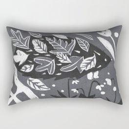 Hedgehog in Autumn Woods - Gray Palette Rectangular Pillow