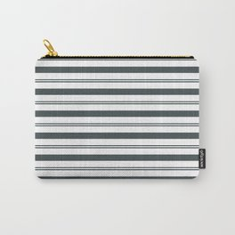 PPG Night Watch Pewter Green and White Stripes, Wide and Narrow Horizontal Line Pattern Carry-All Pouch