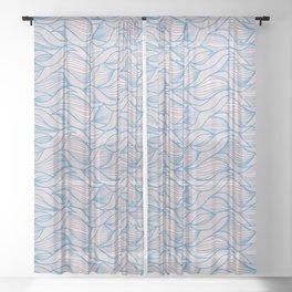Scandinavian Waves Pattern Blue Sheer Curtain
