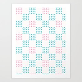 Abstract Chequered Grid Background. Hand Drawn Art Print