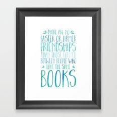 Bookish Friendship - Blue Framed Art Print