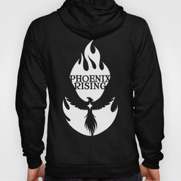 PHOENIX RISING white with flames and star center Hoody