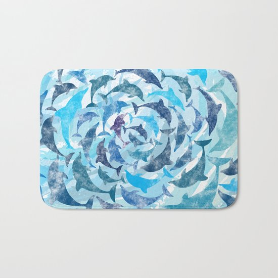 Water color dolphins Bath Mat