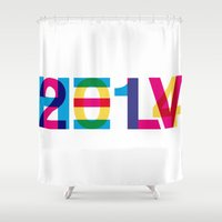 helvetica Shower Curtains featuring helvetica 2014 by Type & Junk